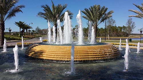 Esplanade Golf and Country Club Fountain Close Up | Precast Keystone - Naples, Florida